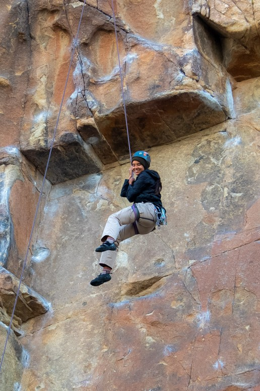 halie west rappelling in joshua tree