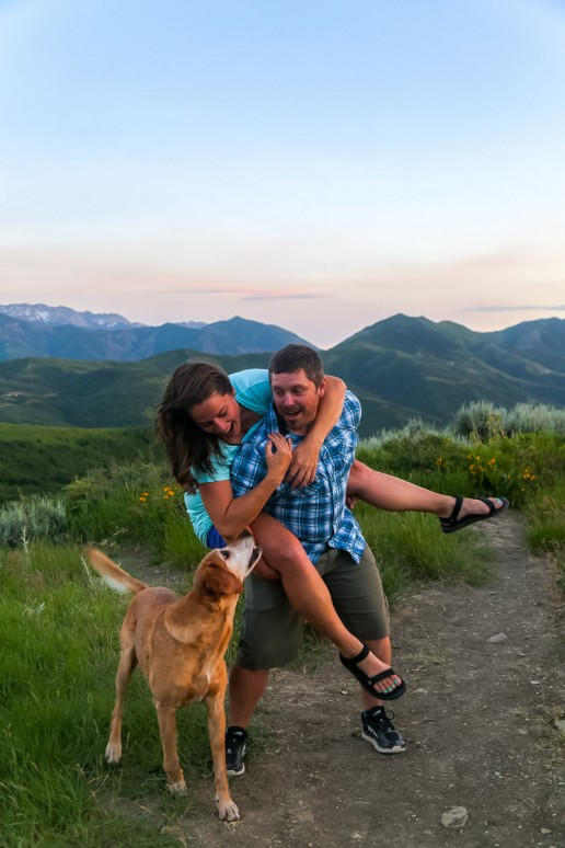 couple having fun in the wasatch