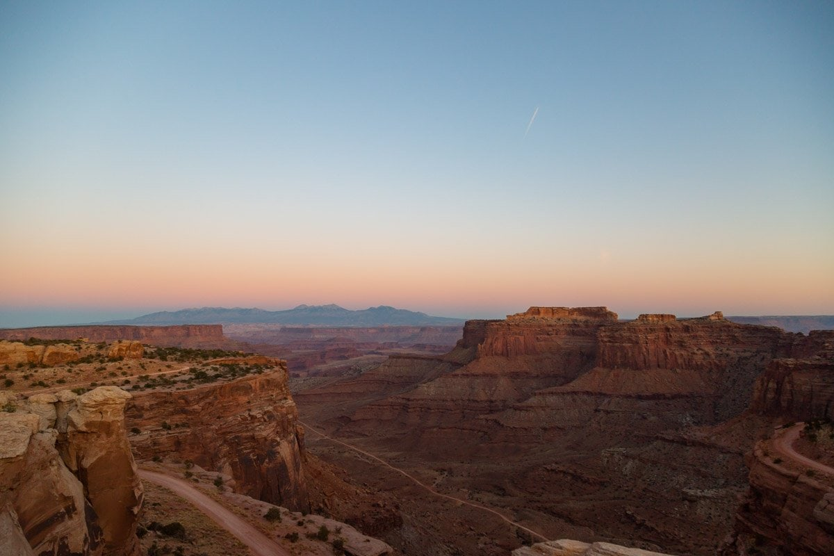 canyonlands national park from an overlook at sunset