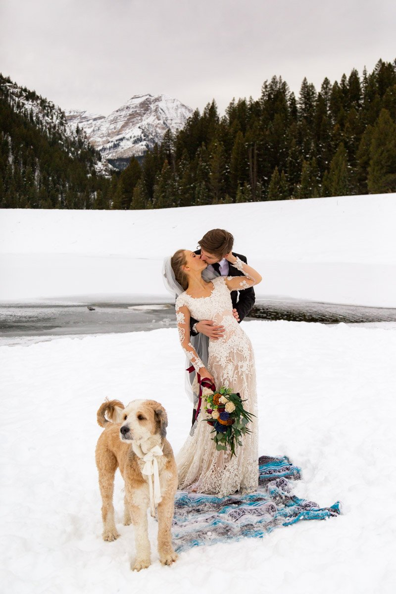 couple holds another close in the mountains while their dog stares off at the scenery