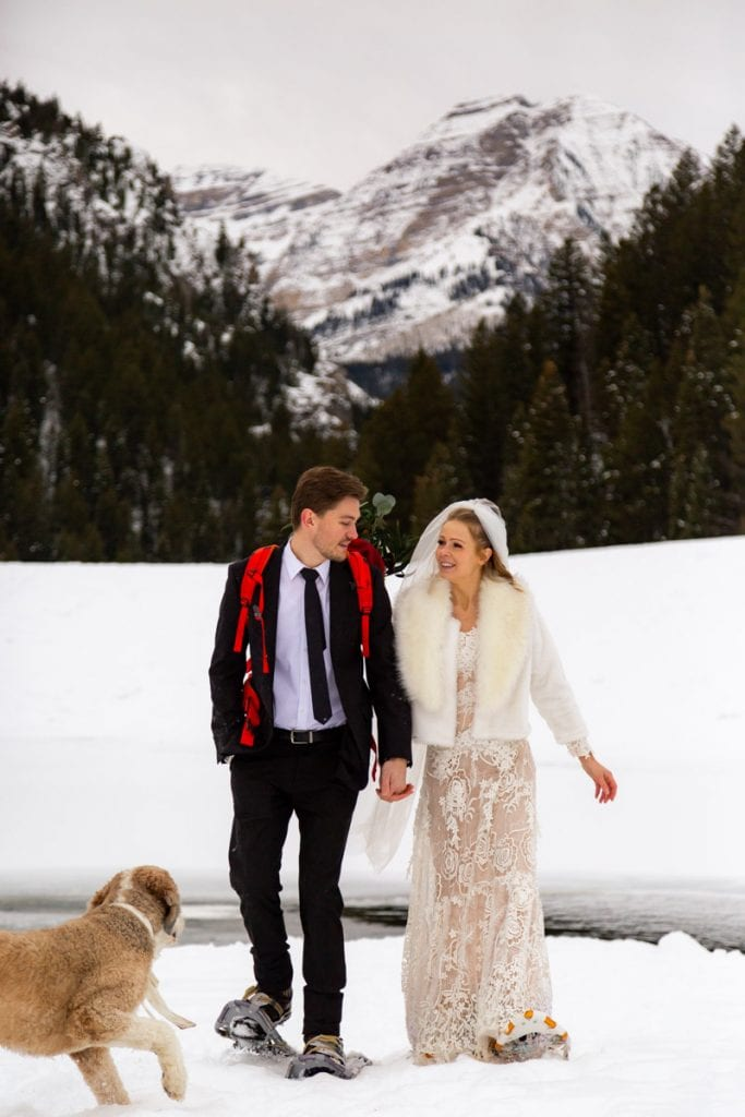 winter wedding day in the mountains of utah