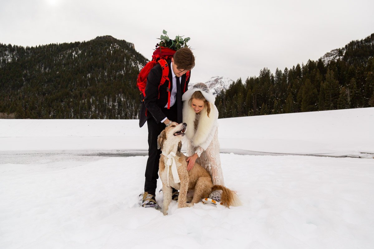 happy couple with their dog fduring their winter elopement