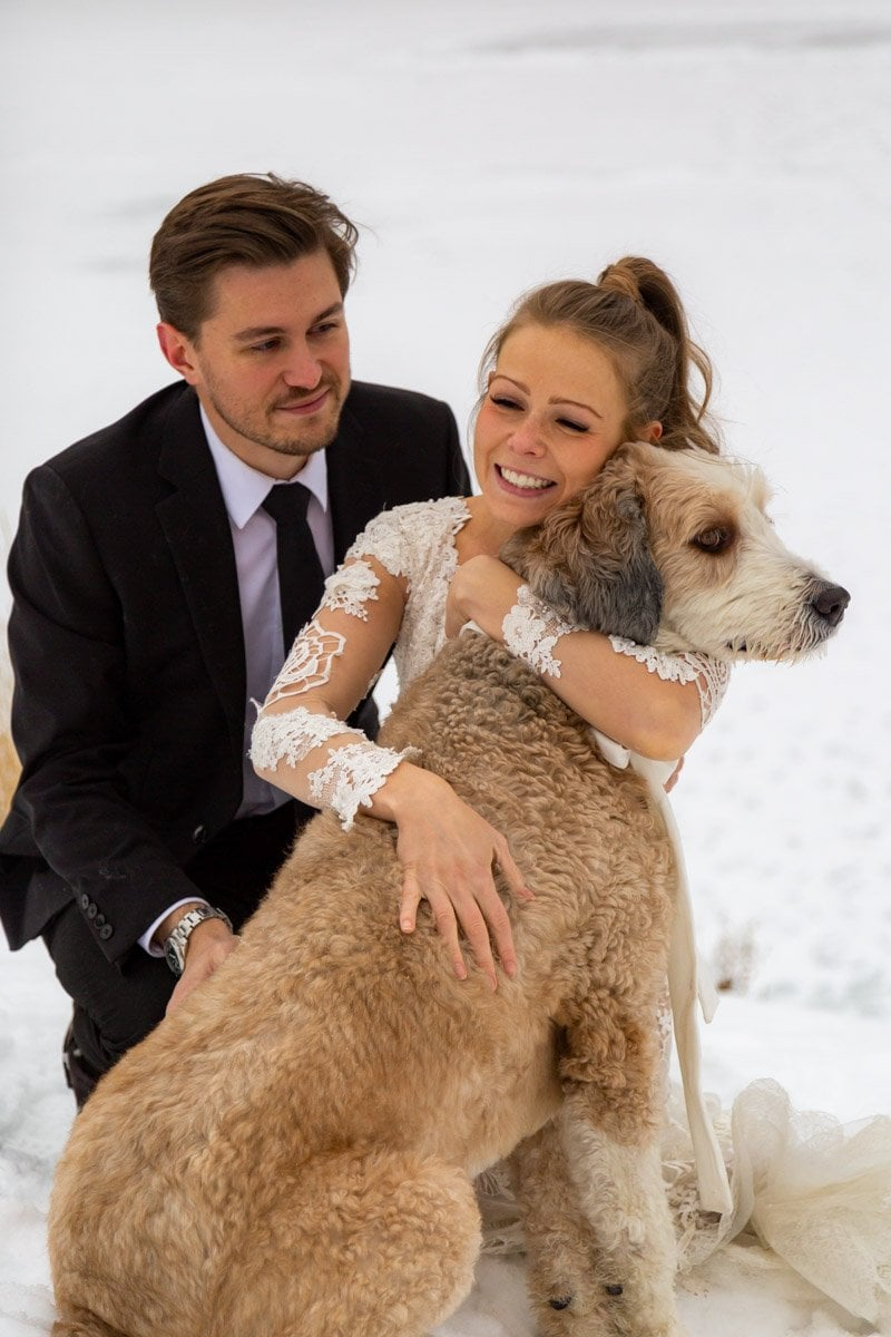 couple excited for their elopement in the mountains
