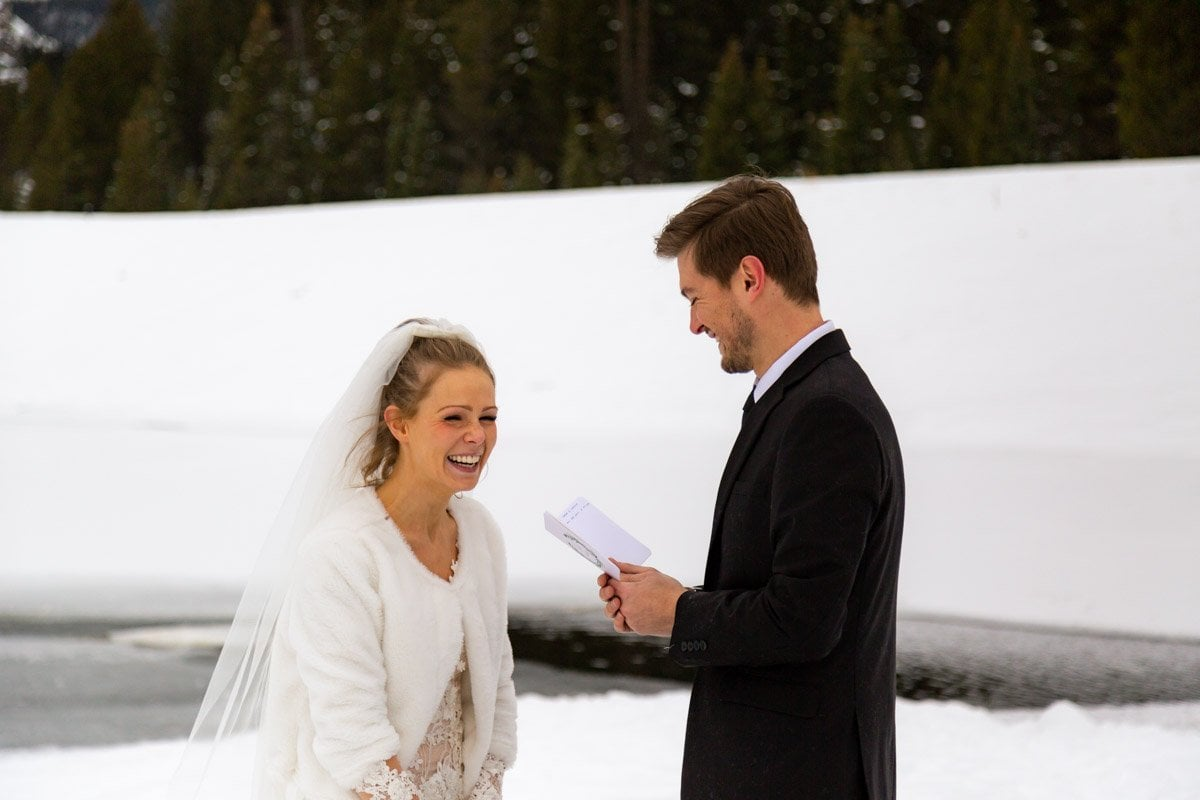bride laughing during her elopement