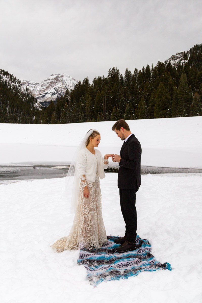 ring exchange during a winter elopement