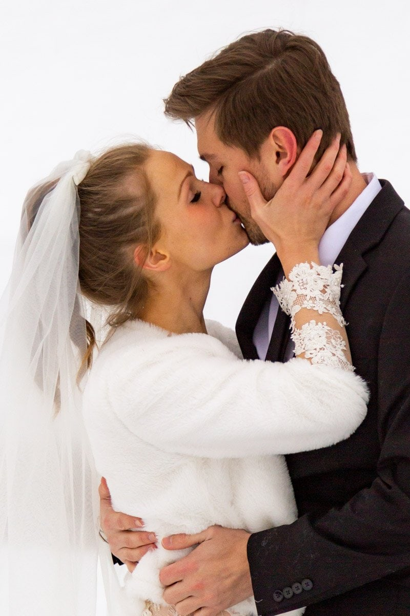 couples first kiss on their wedding day