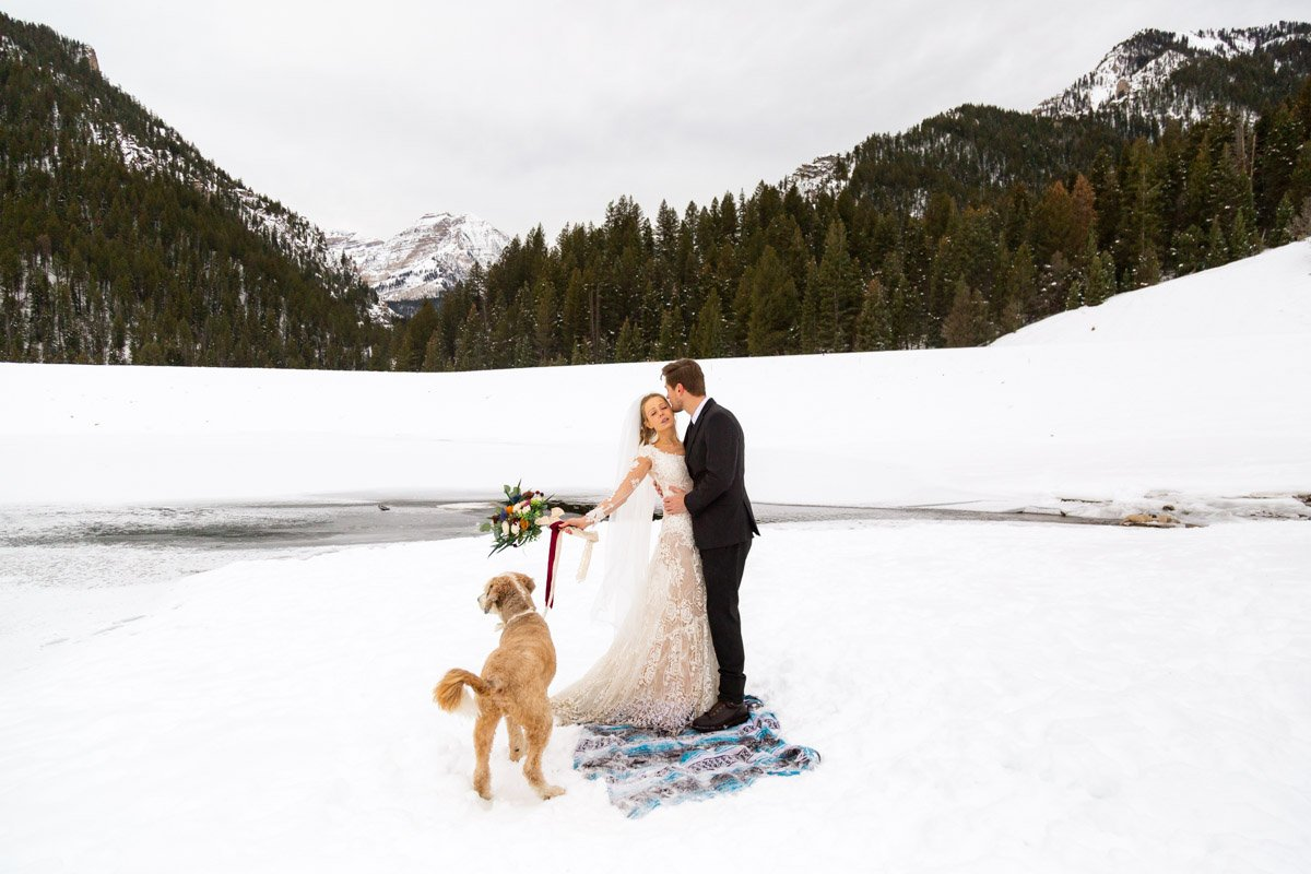 winter mountain elopement in the wasatch
