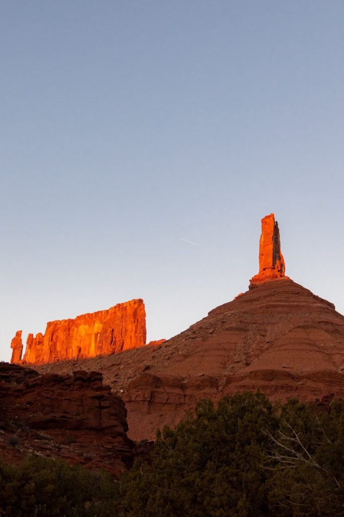 castleton tower in moab utah. This area includes beautiful hikes, rock climbing, and car camping