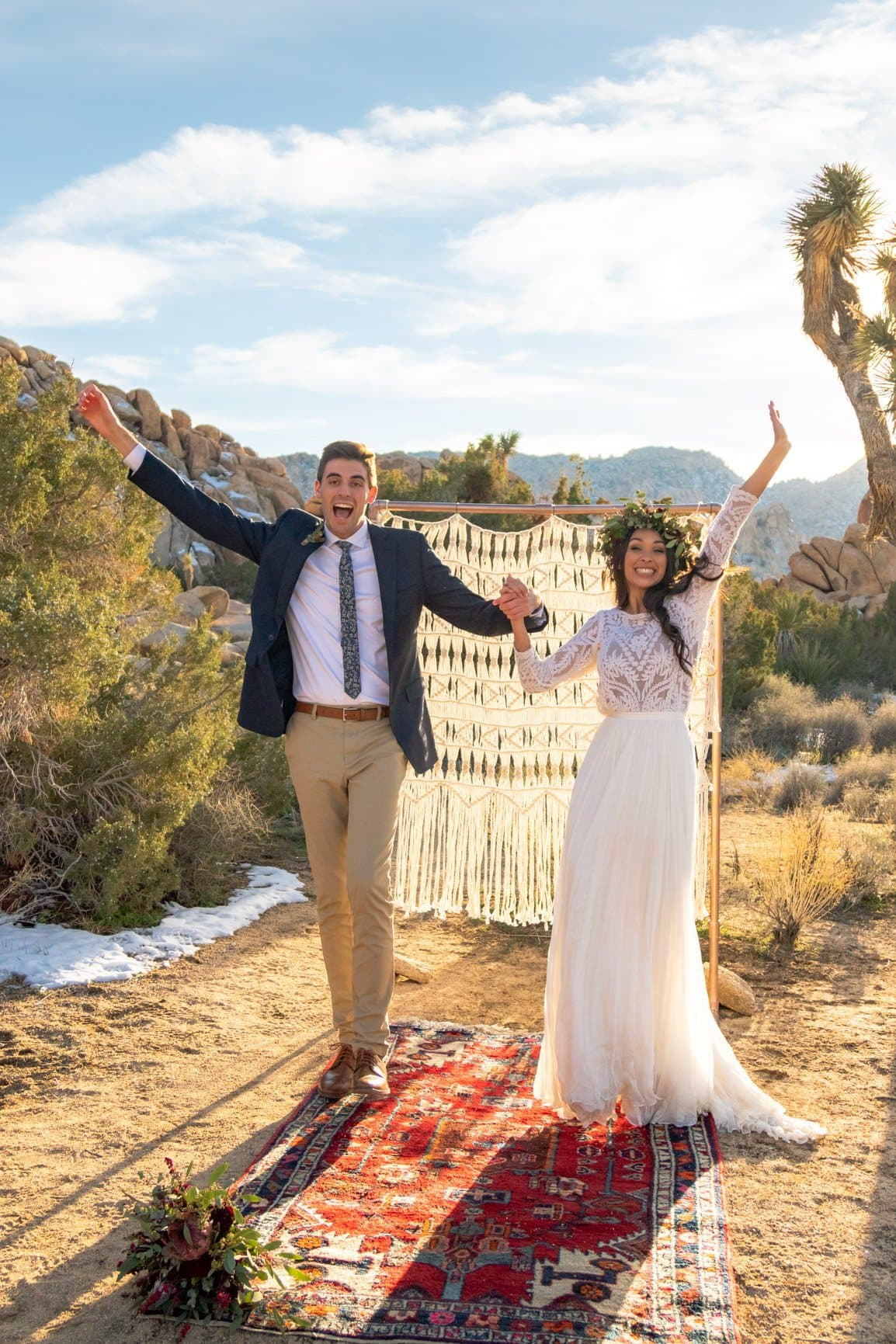 elopement celebration for their joshua tree wedding day