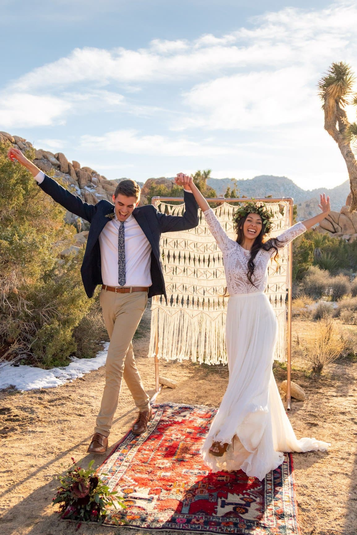 newlyweds celebrate their love in the desert