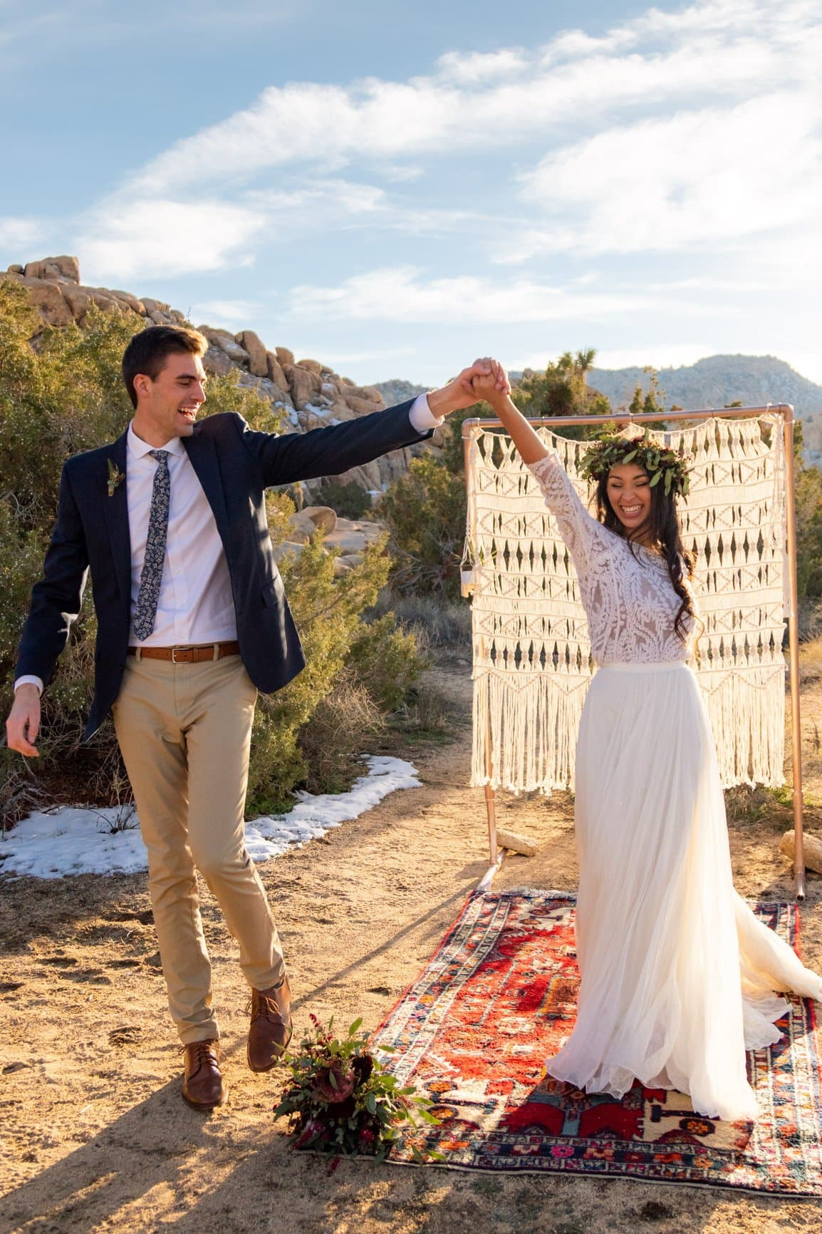 dancing after getting married in joshua tree national park