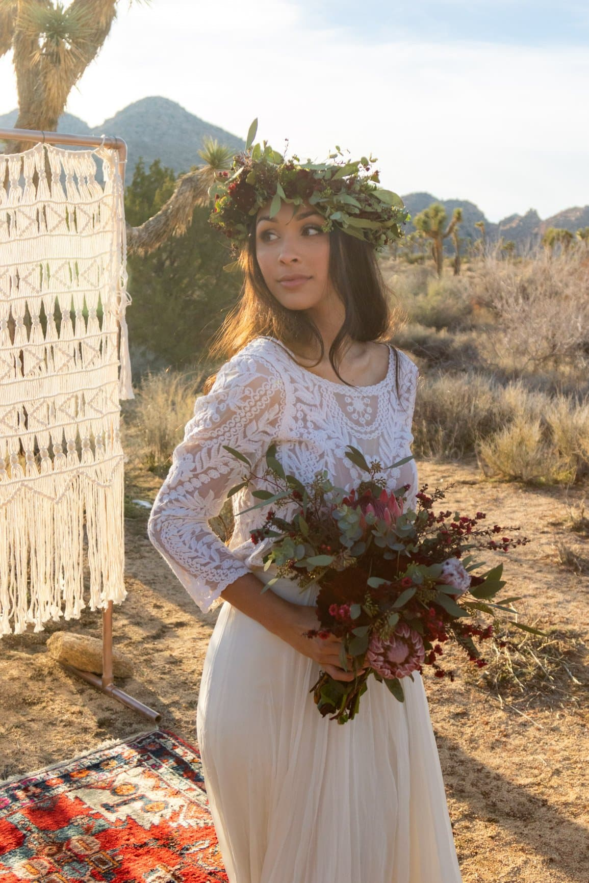 boho bride in the california desert
