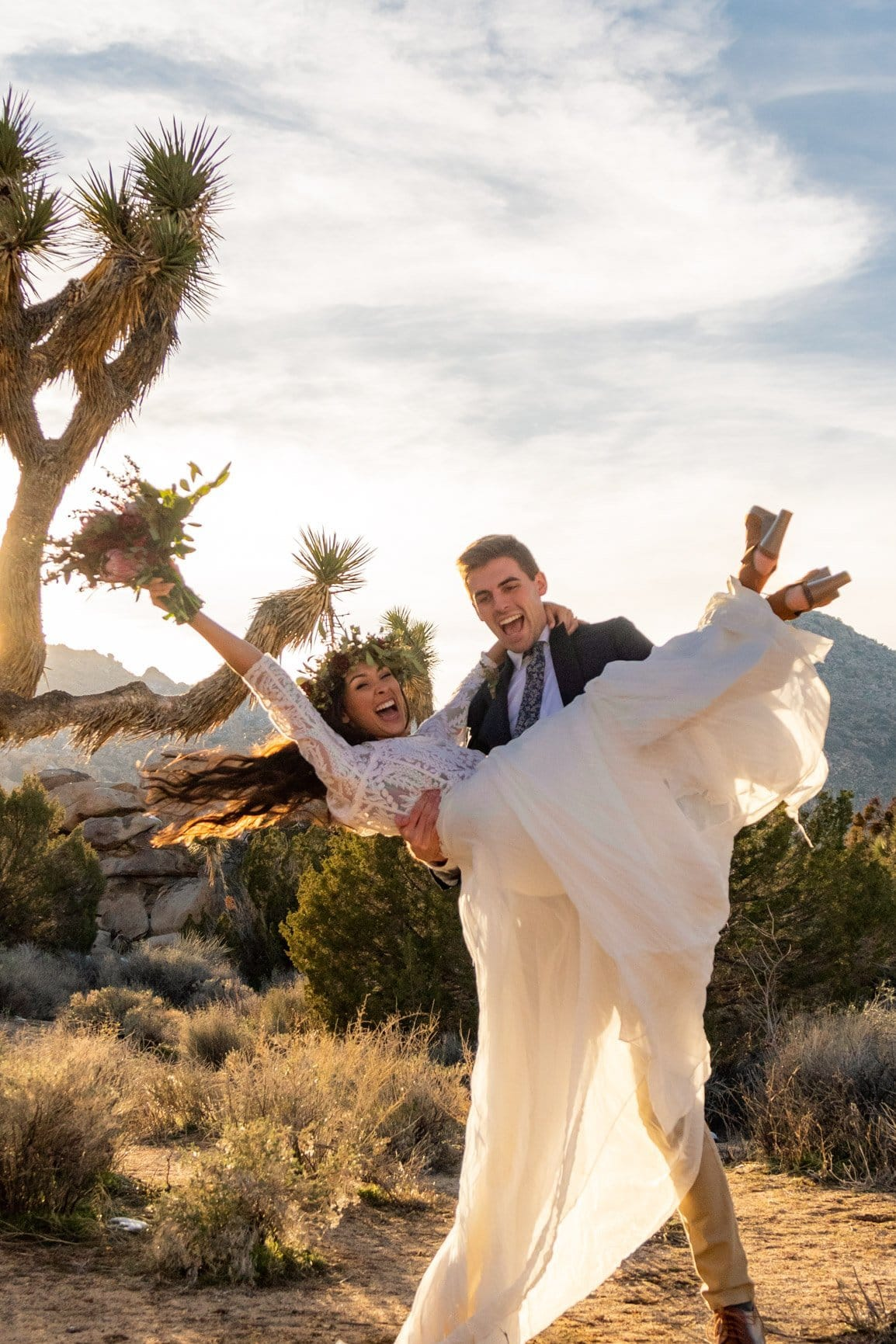 couple cheers over being married in the desert