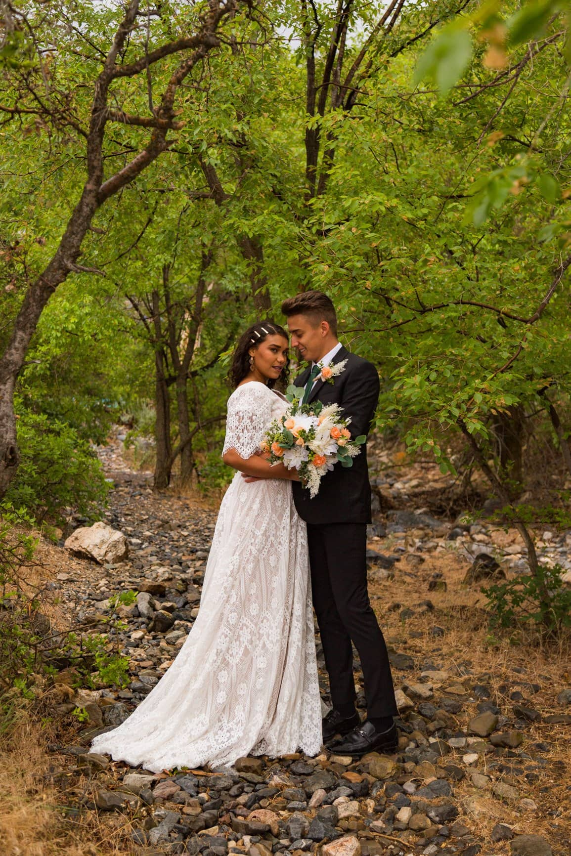 stunning couple in a forest in utah