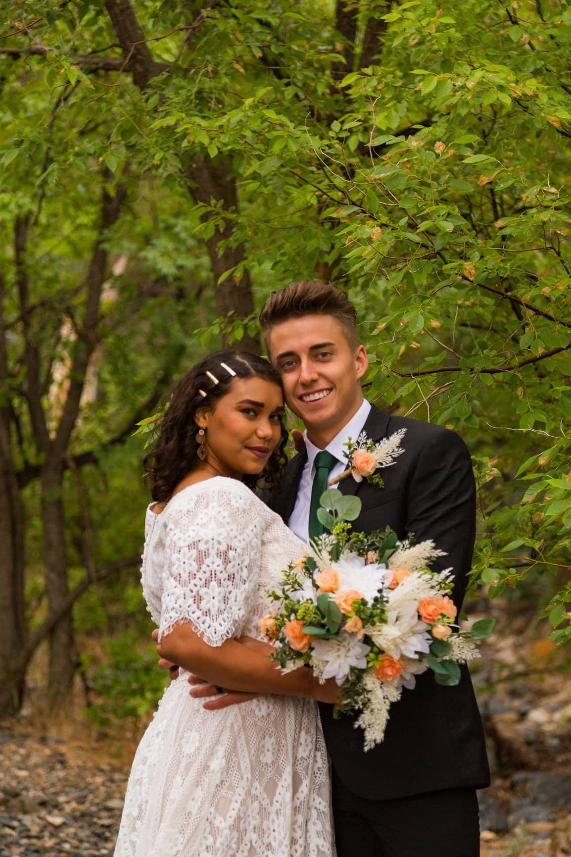 smiling lovers during their vow renewal
