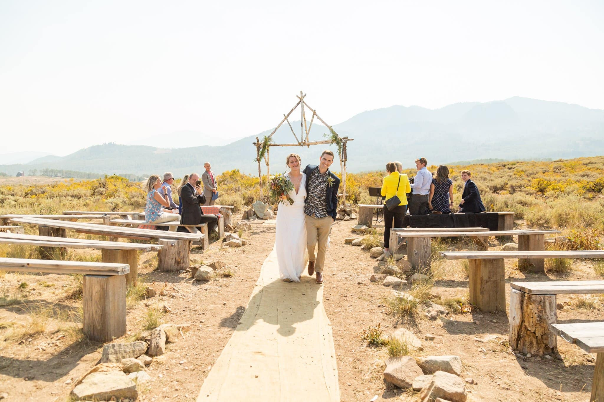 couple celebrate their imtimate wedding at church of dirt in park city utah