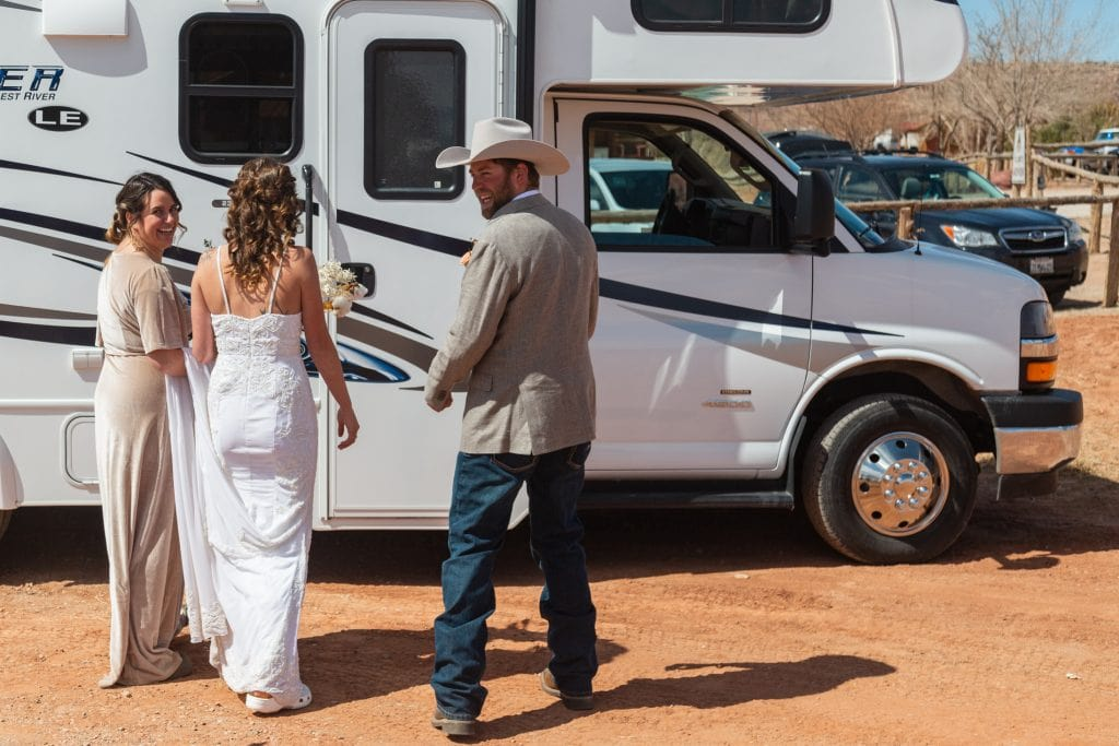 couple takes an rv to come to utah for their elopement